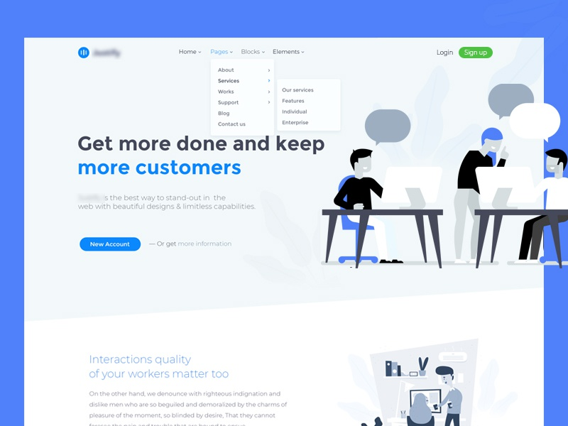 Corporate template work workspace product collaboration landing page landing company corporate
