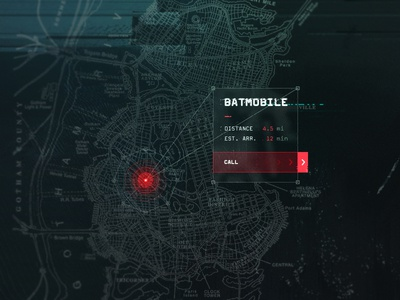 DailyUI 020 - Location Tracker batmobile dailyui batman gotham map gps poi location tracker