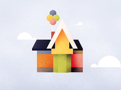 UP illustration grunge pastel geometric movie pixar up