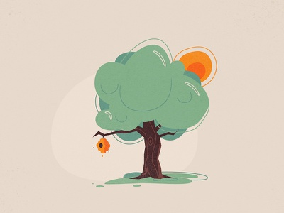 Beehive hill spring vector styleframe sun tree beehive bee hive