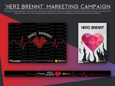 """""""Herz brennt"""" marketing campaign wristband poster design graphic design"""
