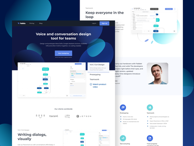 VUI Design Tool Website vector testimonials abstract web ui ux business startup chatbot voice assistant landingpage design
