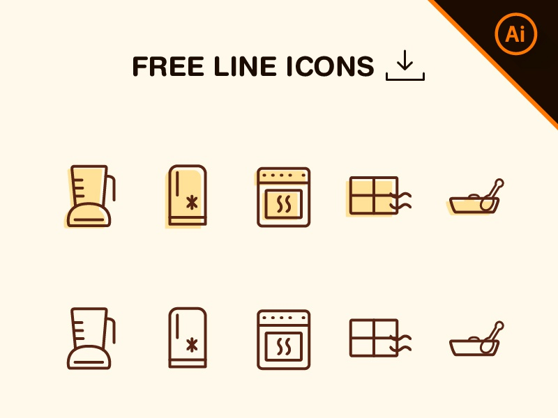 Free Line Icons Kitchen download free vector illustrator icons lineicons kitchen