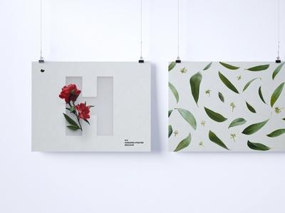 Two 4:3 landscape hanging posters mockup