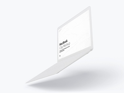 Clay MacBook Mockup, Floating Right View