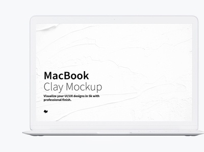 Clay MacBook Mockup, Front View