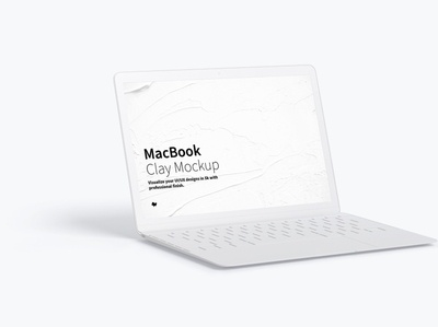Clay MacBook Mockup, Left View