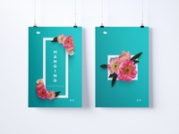 Two 2:3 portrait hanging posters mockup