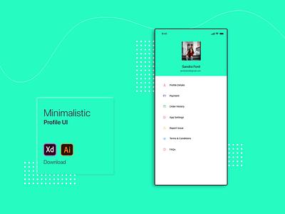 Minimalistic Profile UI profile design profile page user profile profile ui profile minimalism clean ui adobe xd