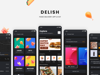 Delish - Food Delivery App UI Kit ios profile page cart coupons payment ui kit resource figma food app dark
