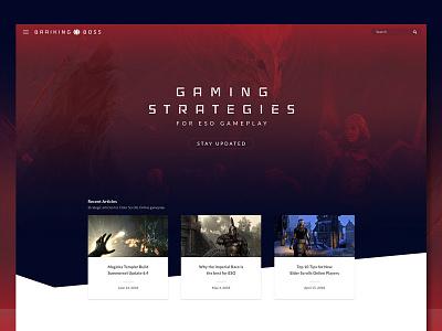 Gaming Website blog design web online scrolls elder eso website gaming