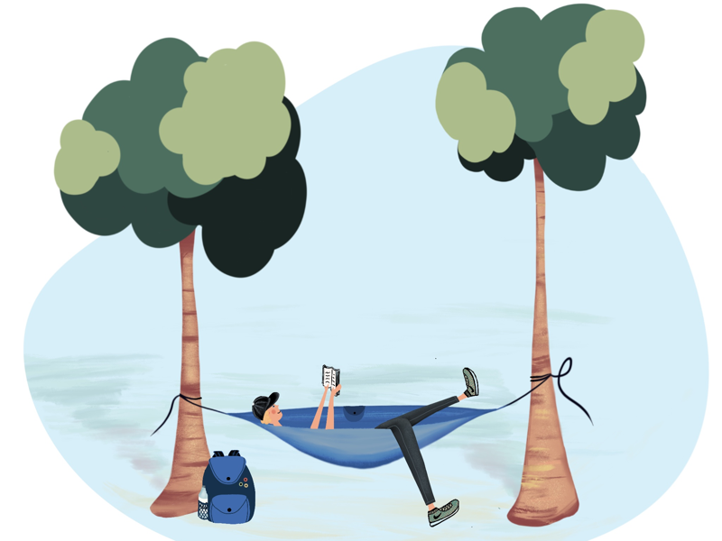 Relaxing boy on his own cloud by Mariya Videva on Dribbble