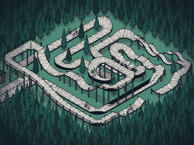 Mountain Bike Track isometric illustration wilderness forest mountain bike mountain biking isometric vector illustrator illustration