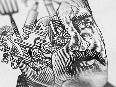 MF / detail engraving etching portarit man lines illustration