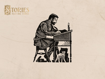Stories / Self-Portrait writting engraving etching handdrawn vintage stories playing cards illustration