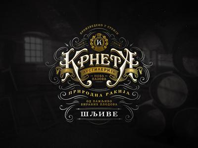 Krneta / WIP typography vintage lettering branding brandy distillery whiskey logo label