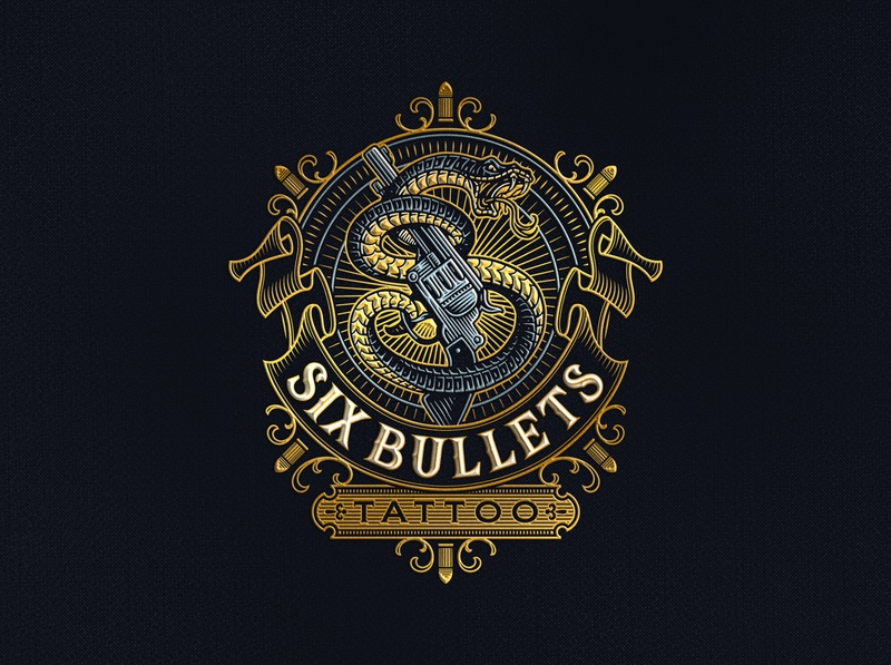 Six Bullets Tattoo lettering vintage gun snake illustration tattoo design logo