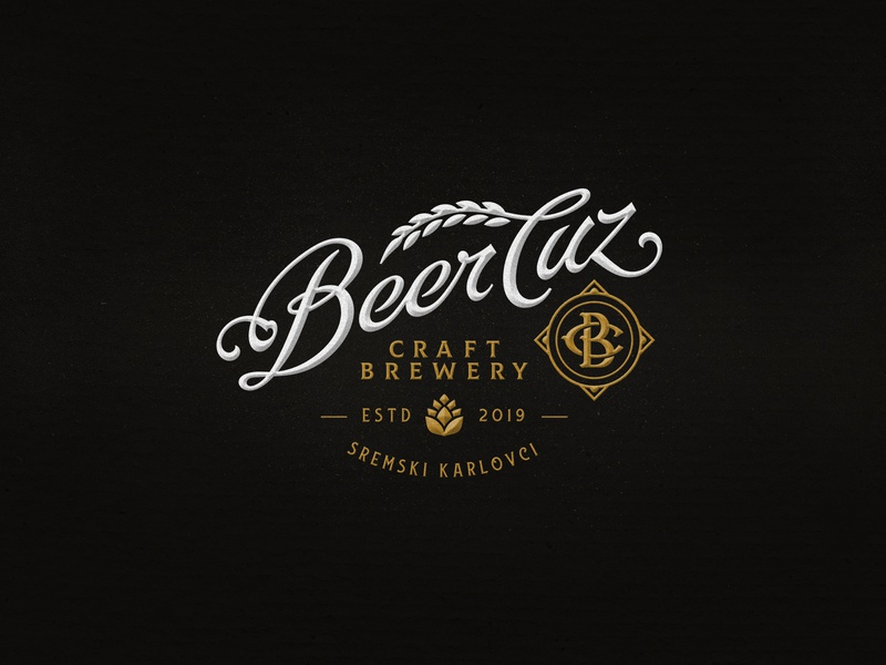 BeerCuz / Logo luxury elegant brewing typography lettering craft brewery logo beer