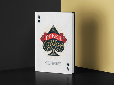 The Poker Coach typography lettering ace of spades poker playing cards desig cover book