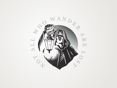 Wanderer wander design badge logo vintage lantern man illustration