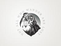 Wanderer wander design badge logo vintage lantern man illustration