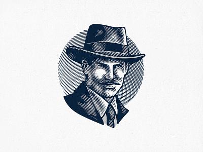 Man with Hat logo cowboy vintage crosshatching engraving portrait man illustration