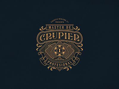 Máster de Crupier Profesional cards poker typography lettering design logo