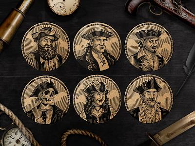 Lying Pirates / Pirate Captains fun game illustration pirate dice game board game