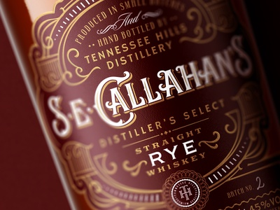S.E.Callahan's / Rye bottle spirit lettering design tennessee whiskey packaging label