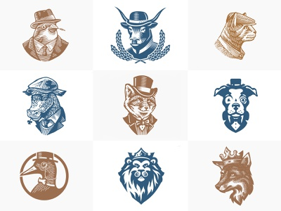 Animals with hats fox cow cat dog lion hat vintage animals collection illustration logo