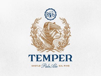 Temper / RazBeerbriga illustration label cat brewing brewery beer