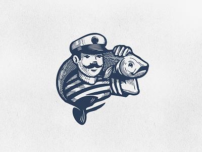 Fisherman scratchboard fish man illustration