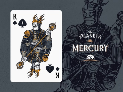Mercury / King of Spades fantasy planet illustration crown spade king playing-cards