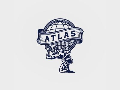 Atlas Logo vintage coin illustration atlas logo