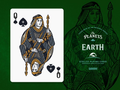 Earth / Queen of Spades design card deck illustration planets playing cards
