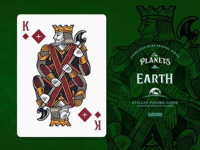 Earth / King of Diamonds design card deck illustration planets playing cards
