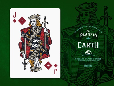 Earth / Jack of Diamonds design card deck illustration planets playing cards