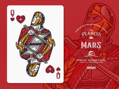 Mars / Queen of Hearts design card deck illustration planets playing cards