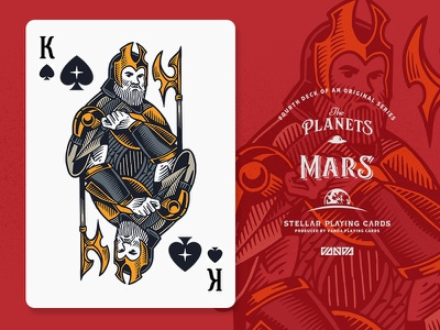 Mars / King of Spades design card deck illustration planets playing cards