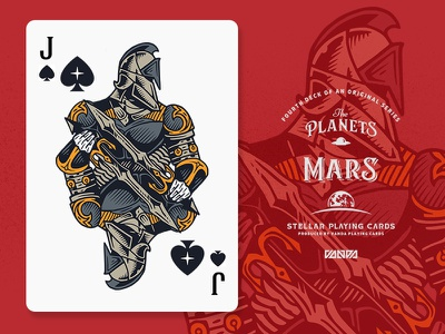 Mars / Jack of Spades design card deck illustration planets playing cards
