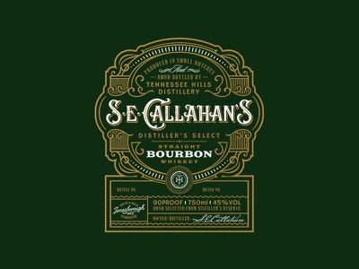 S.E.Callahan's  Bourbon tennessee label distillery liquor bourbon vintage whiskey