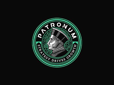 Patronum Logo digital coin vintage illustration badge emblem logo