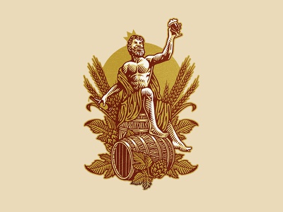 Bacchus festive wine drunk bacchus god vintage illustration craft brewery beer