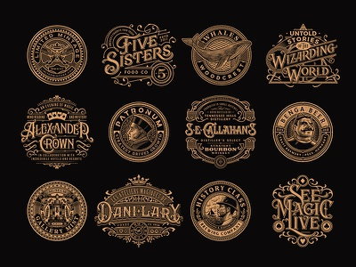 2018 magic victorian vintage design illustration typography badge emblem 2018 collection logo