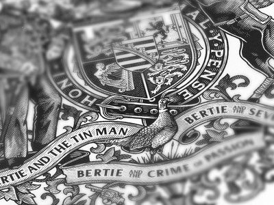 Bertie / Cover Detail II royal vintage engraved hatching book cover pheasant illustration coat of arms