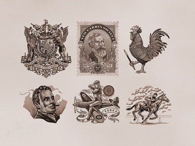Illustrations: Collection 1 engraving crosshatching coat of arms man rooster stamp victorian vintage drawing illustration