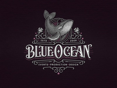 Blue Ocean / Logo fun whale illustration typography lettering design logo