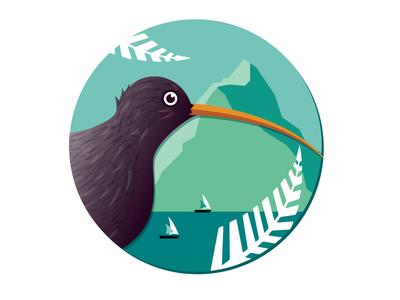 New Zealand badge kiwi ferns sailing lake mountain illustration yelp badge