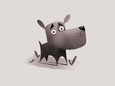 Dog without a leash procreate monochrome illustration dog