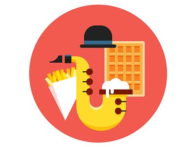 Belgian Badge magritte saxophone belgium waffles beer sax fries